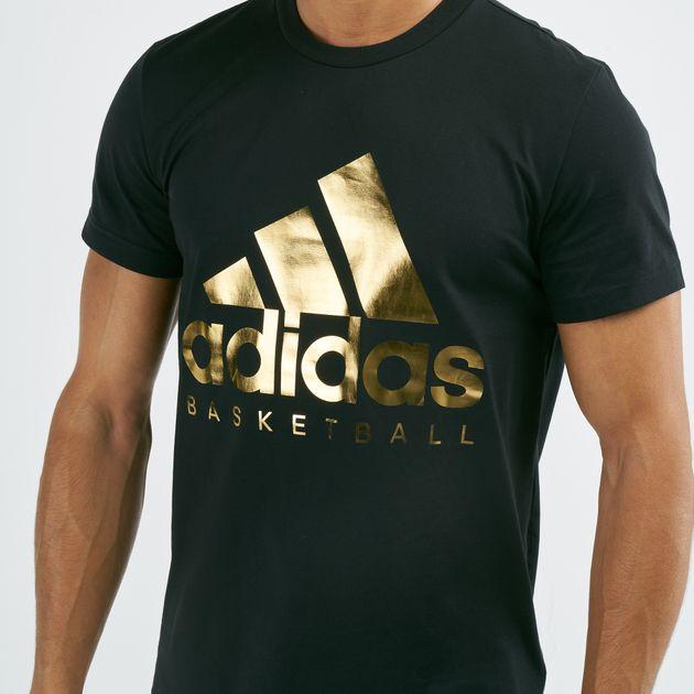 MEN/'S BASKETBALL GOLD FOIL BADGE OF SPORT TEE