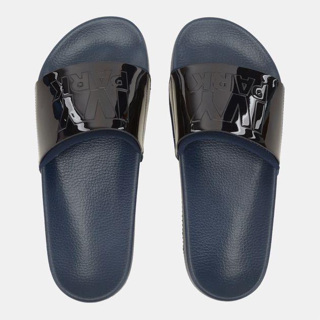 6d001d3ffba5 Shop Blue IVY PARK Metallic Slides for Womens by Ivy Park