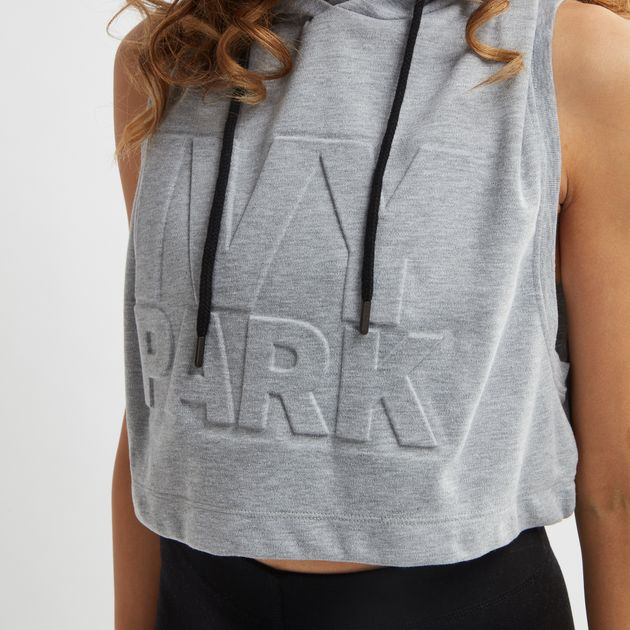 af62868ddf563 Shop Grey IVY PARK Embossed Logo Sleeveless Hoodie for Womens by Ivy ...