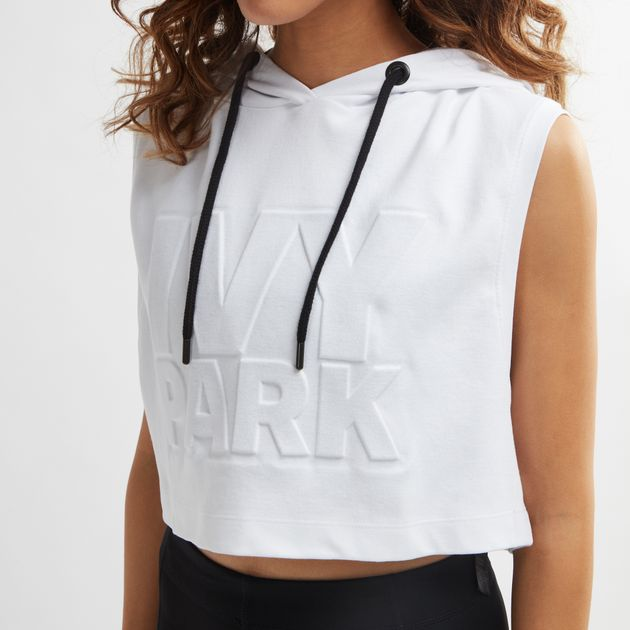 67ba39cd8c656 Shop White IVY PARK Embossed Logo Sleeveless Hoodie for Womens by ...