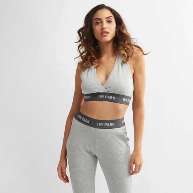 5710a72e82c62 Shop Grey IVY PARK Plunge Crossover Rib Sports Bra for Womens by Ivy ...