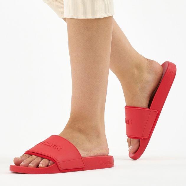 Ivy Park Black Red Lace Sliders
