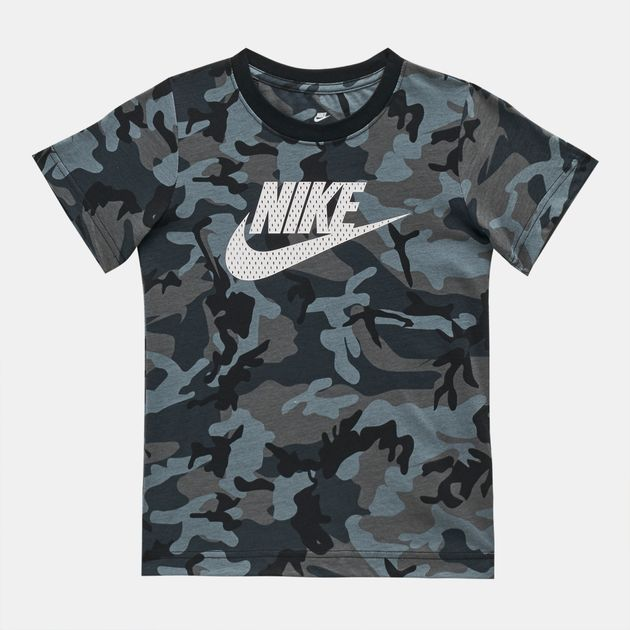 2f45d4e45 Shop Grey Nike Kids' Mesh Futura Camo Knit T-Shirt | T-Shirts | Tops ...