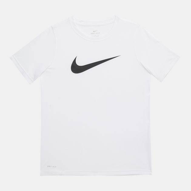 ee18daee34989 Shop White Nike Kids' Dri-FIT Training T-Shirt for Kids by Nike | SSS