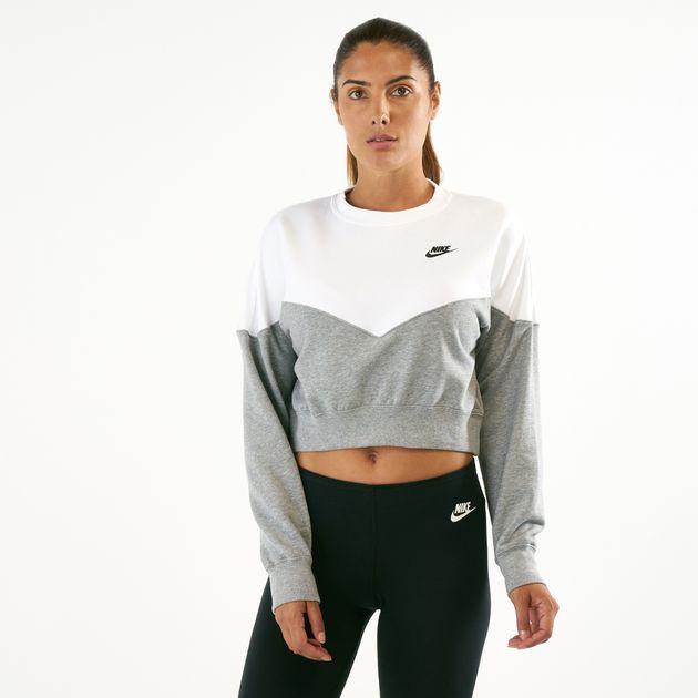1a26d08c Nike Women's Sportswear Heritage Fleece Crew Sweatshirt, 1551478