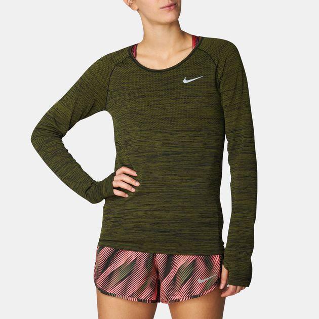 78655eb8 Shop Green Nike Dri-FIT Knit Long Sleeve Running T-Shirt for Womens ...