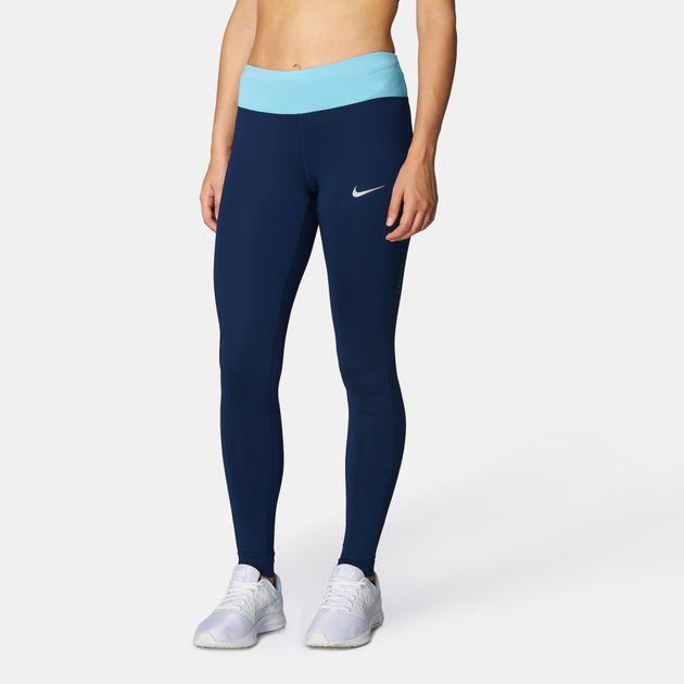 5212e680519639 Shop Blue Nike Power Essential Dri-FIT Running Leggings for Womens ...
