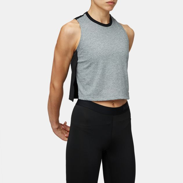 1c2d0089f705a Shop Grey Nike Breathe Cropped Training Tank Top for Womens by Nike ...