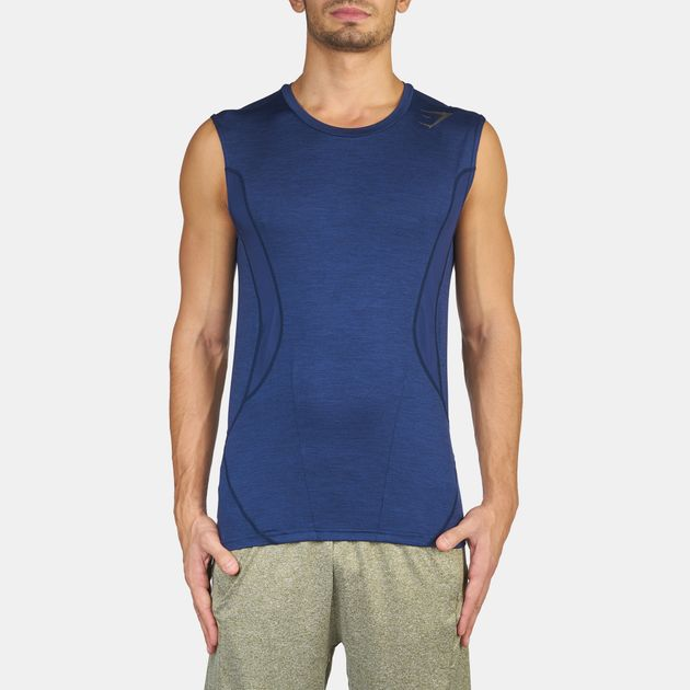 eb35a4f7c Shop Blue Gymshark Apex Sleeveless T-Shirt for Mens by Gymshark
