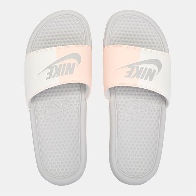 788fe3cebb6c57 Shop White Nike Benassi Just Do It Slide Sandals for Womens by Nike ...