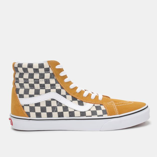 6fb8eb890b4 Shop Yellow Vans Checkerboard Sk8-Hi Reissue Shoe for Mens by Vans