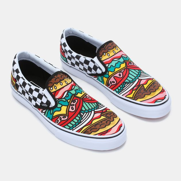 66449123d6 Shop Black Vans Late Night Burger Printed Slip-On Shoe for Mens by ...