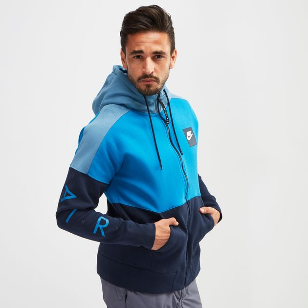 Shop Blue Nike Air Fleece Hoodie for Mens by Nike  779dc8621d