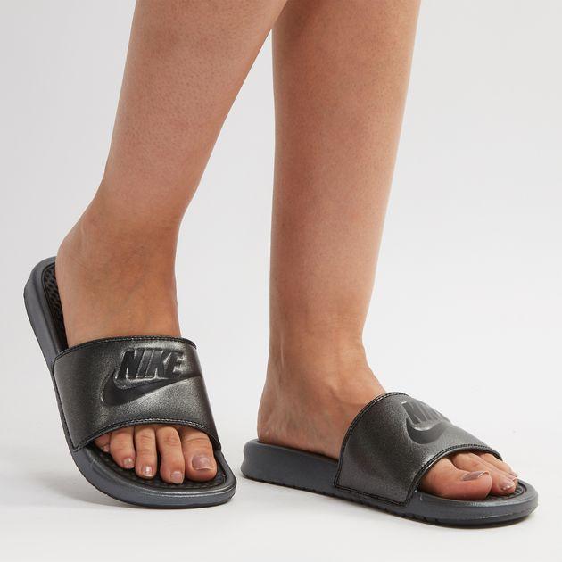 c98cf778263c Shop Black Nike Benassi Metallic QS Just Do It Slide Sandals for ...