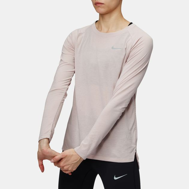 350dc97ec8cd54 Shop Pink Nike Tailwind Long Sleeve Running T-Shirt for Womens by ...
