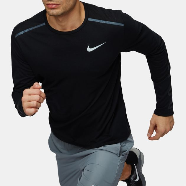 a2c8f1856a Shop Black Nike Tailwind Long Sleeve Running T-Shirt for Mens by ...