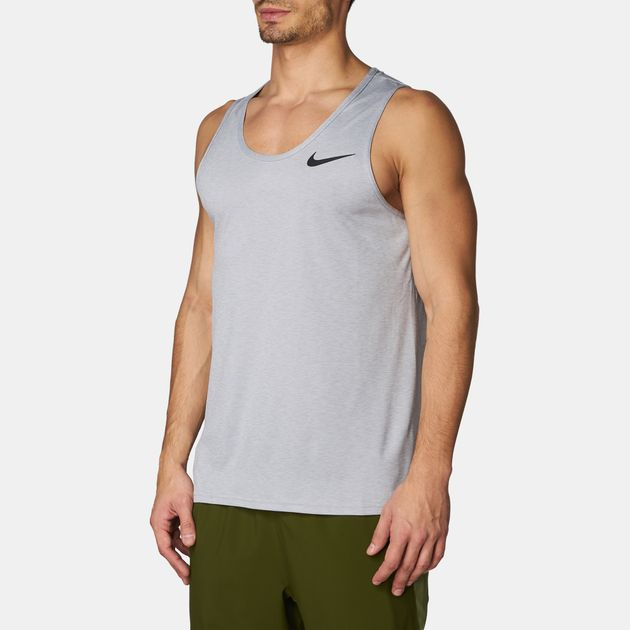 fa403cbe78088 Shop White Nike Breathe Training Tank Top for Mens by Nike