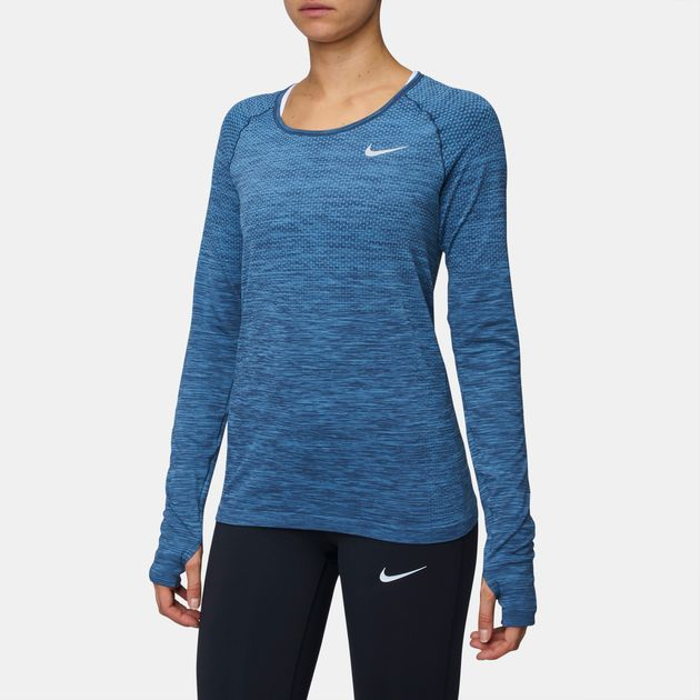 Shop Blue Nike Dry Knit Long-Sleeve Running T-Shirt for Womens by ... 838151515