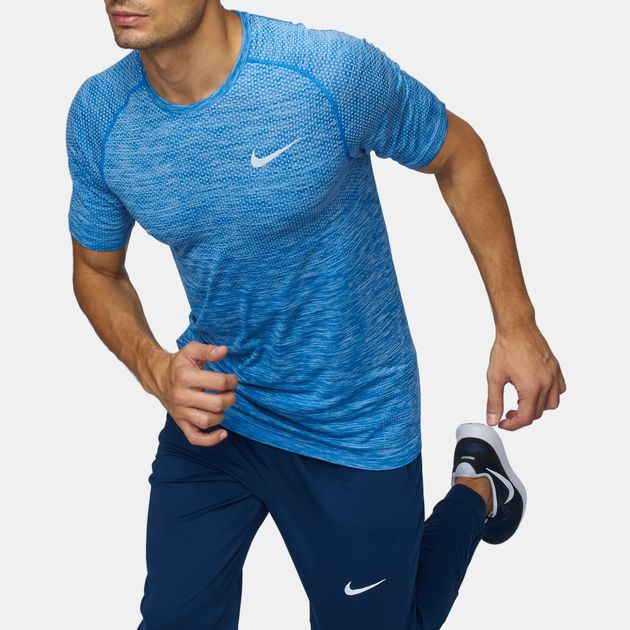 cc5c0bae2 Shop Blue Nike Dri-FIT Knit Running T-Shirt for Mens by Nike | SSS