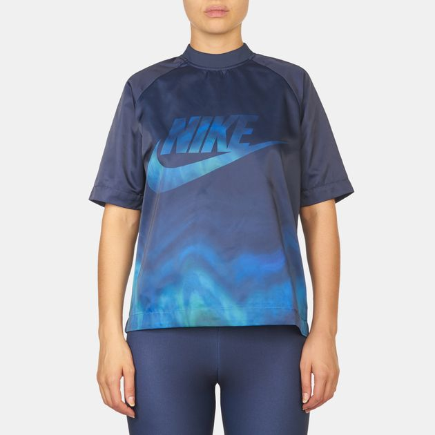 4aeeda3aaa9 Shop Blue Nike Sportswear All Over Print T-Shirt for Womens by Nike ...