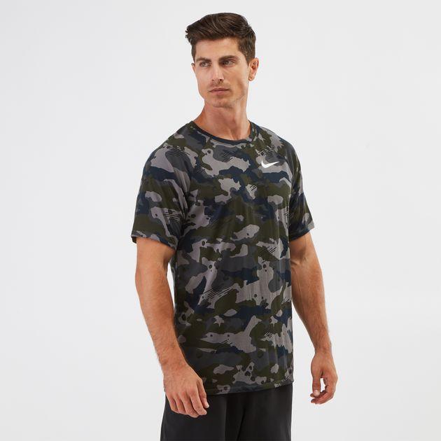 aa774984 Shop Grey Nike Dry Legend Camo AOP T-shirt | T-Shirts | Tops ...