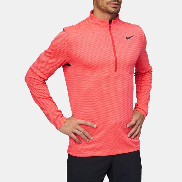 63058d38f Shop Red Nike Golf AeroReact Half-Zip Long Sleeve T-Shirt for Mens ...