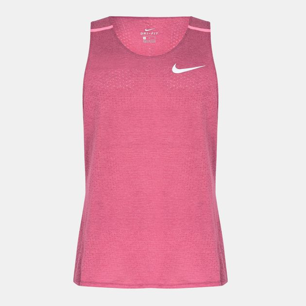 571af69a8c555 Shop Purple Nike Breathe Cool Running Tank Top for Mens by Nike