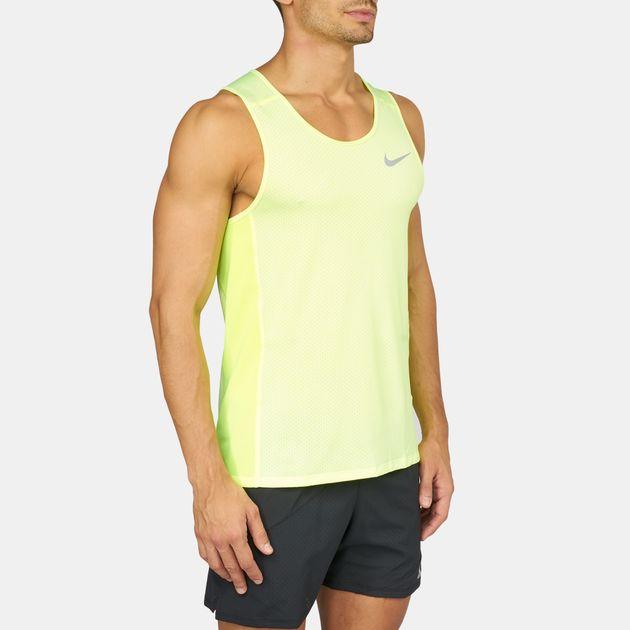 ac4b02dc70b20 Shop Yellow Nike Dry Running Tank Top for Mens by Nike
