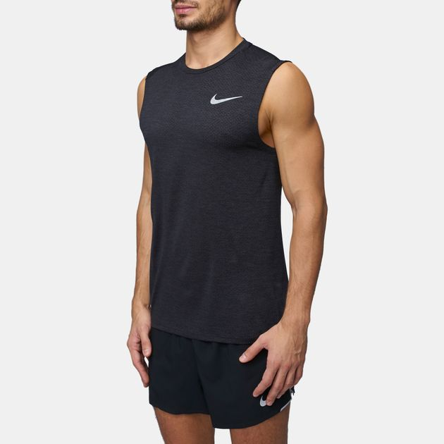 afa023f73c6b0c Shop Black Nike Breathe Miler Cool Running Tank Top for Mens by Nike ...