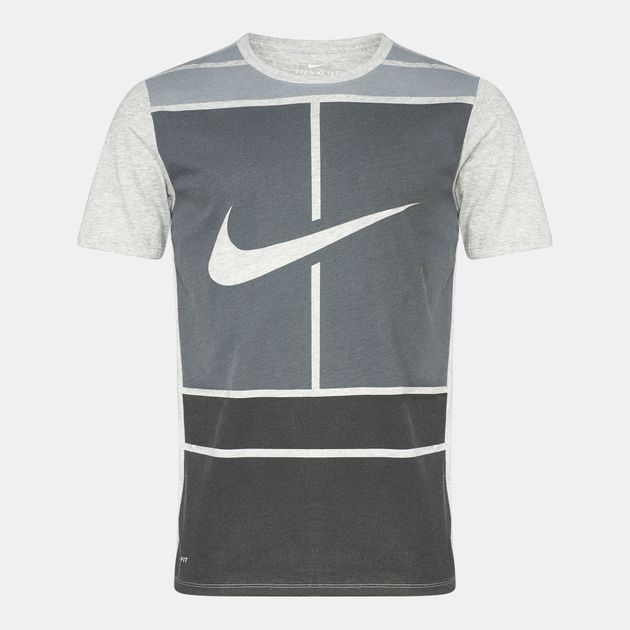 ae9d6164e772 Shop Grey NikeCourt Dry Tennis T-Shirt for Mens by Nike