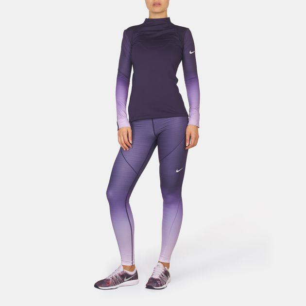 f261e06f Shop Purple Nike Pro Hyperwarm Fade Long Sleeve T-Shirt for Womens ...