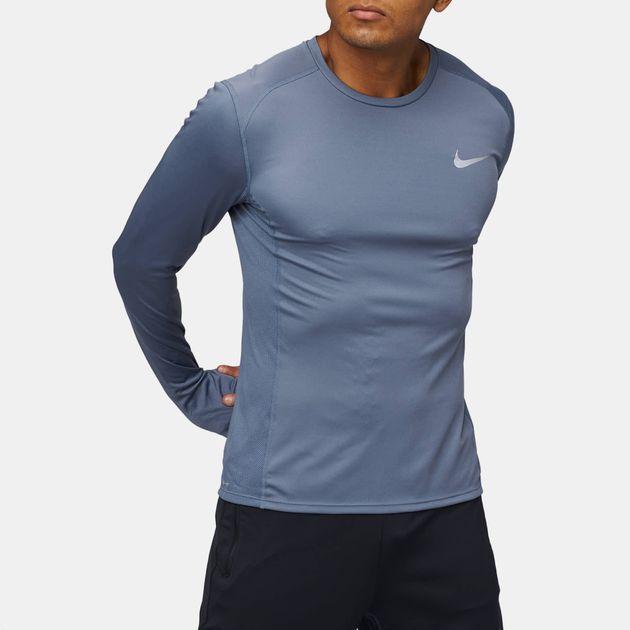 ef803275e Shop Blue Nike Dry Miler Long Sleeve T-Shirt for Mens by Nike | SSS