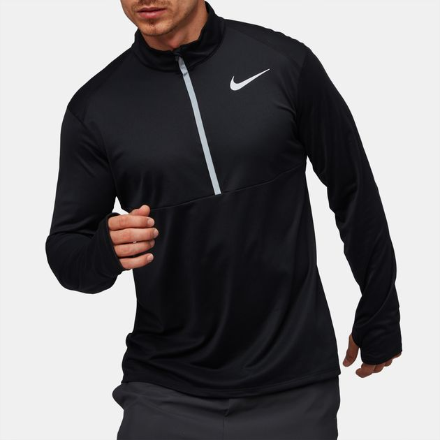 e552dd46 Shop Black Nike Core Half Zip Long Sleeve Running Top for Mens by ...