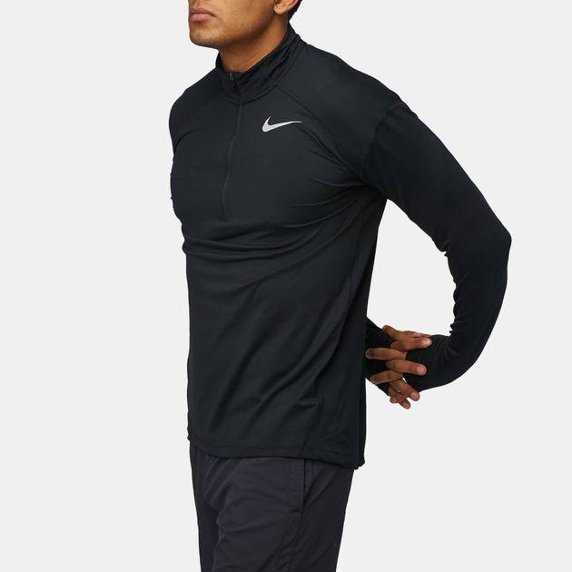57a208b4 Shop Black Nike Element Dri-FIT Half-Zip Long Sleeve Running T-Shirt ...