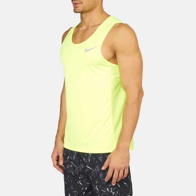face8e7b57393 Shop Yellow Nike Dry Miler Running Tank Top for Mens by Nike