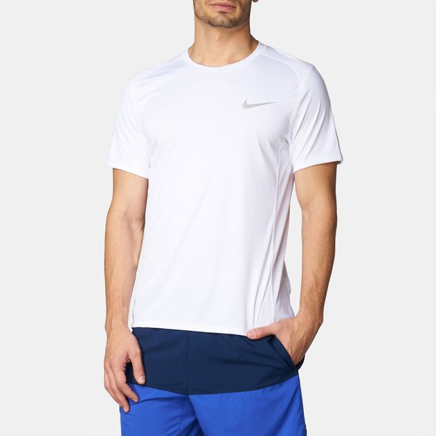 f6fddf8f872f7 Shop White Nike Dry Miler Running T-Shirt for Mens by Nike | SSS
