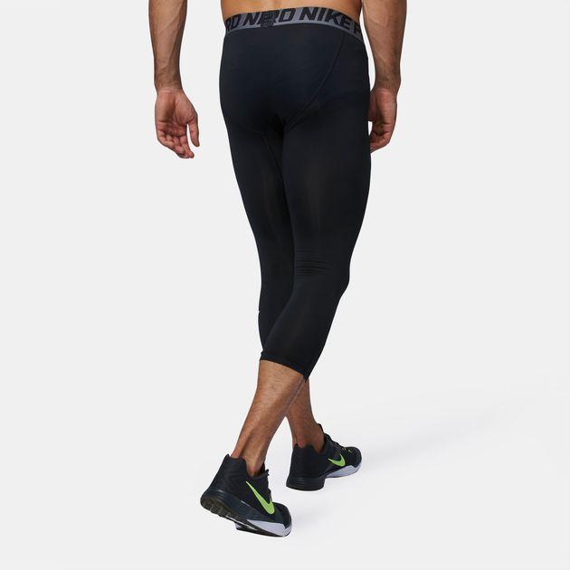 8b2e013a52668 Shop Black Nike Pro Cool Three-Quarter Training Tights for Mens by ...