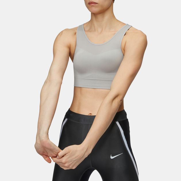 0b52e0875c Shop Grey Nike Seamless Light Support Sports Bralette for Womens by ...