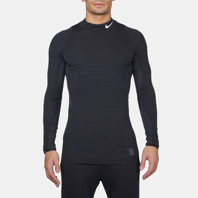 72bcfdbc Shop Black Nike Pro Warm Compression Mock Long Sleeve T-Shirt for ...