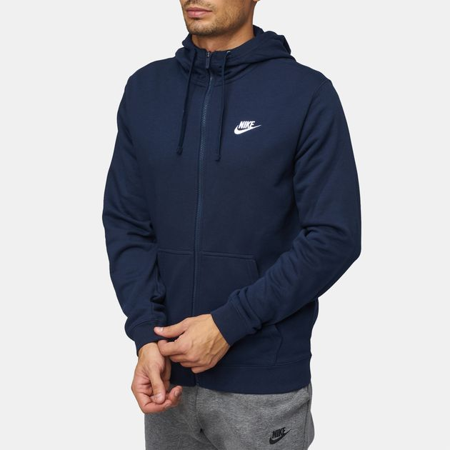 8cb83af6309 Shop Blue Nike Sportswear Full Zip Jersey Club Hoodie for Mens by ...