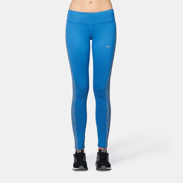 e10b5576521457 Shop Blue Nike Power Flash Epic Running Leggings for Womens by Nike ...
