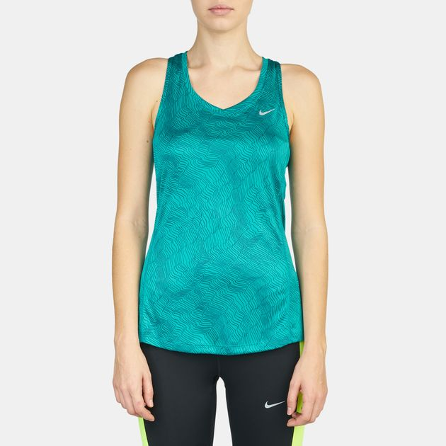 2e23be695fbdb Shop Green Nike Dry Miler Running Tank Top for Womens by Nike