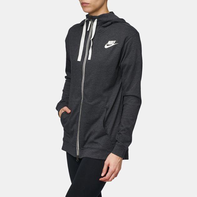 9ed9a76c3d59 Shop Grey Nike Sportswear Gym Classic Full Zip Hoodie for Womens by ...