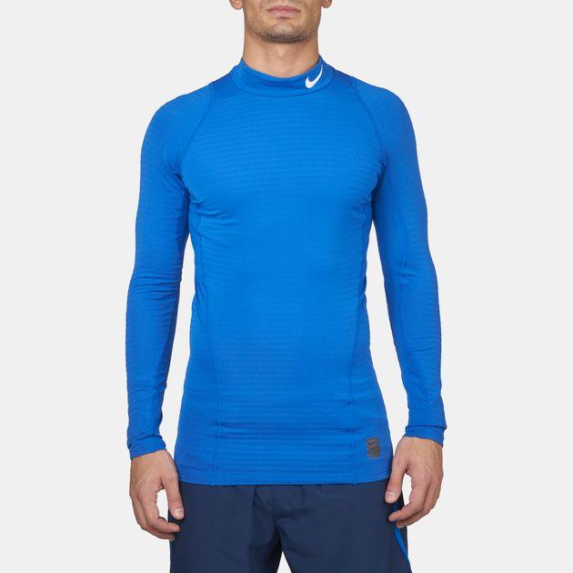 ef78ffd9 Shop Blue Nike Pro Warm Compression Mock Long Sleeve T-Shirt for ...