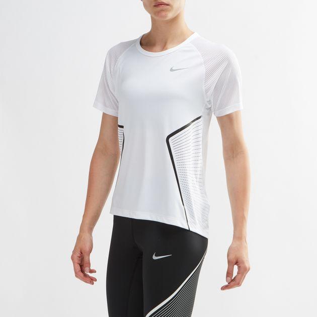 23211981970c6 Shop White Nike Dry Miler GX Running T-Shirt for Womens by Nike | SSS