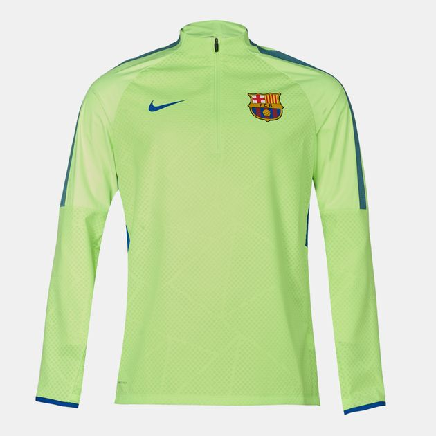 cebfeb071 Shop Green Nike Shield Strike Drill FC Barcelona Long Sleeve T-Shirt ...