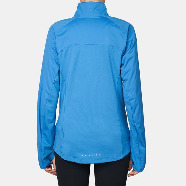 1319f3f4c0aa Shop Blue Nike Shield Full-Zip 2.0 Running Jacket for Womens by Nike ...