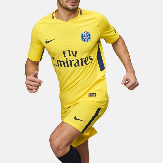 reputable site bbc6a f625e Shop Yellow Nike Paris Saint-Germain Vapor Match Away Jersey ...
