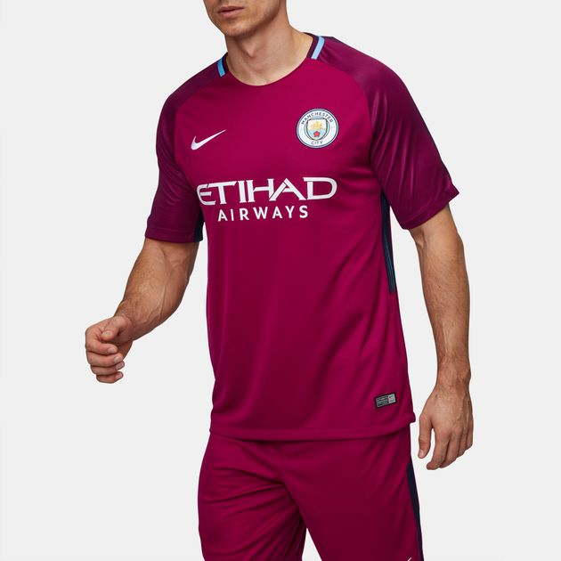 8d787e625 Shop Red Nike Breathe Manchester City FC Away Stadium Jersey for ...