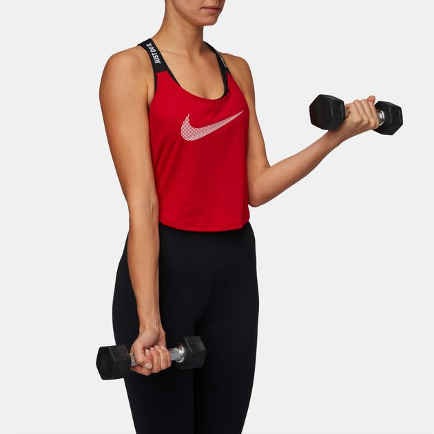 3e43ec395be31 Shop Red Nike Dry Elastika Cropped Training Tank Top for Womens by ...